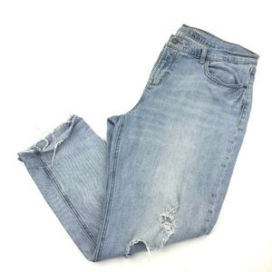 Old Navy Ripped Boyfriend Straight Leg Jeans Sz 14